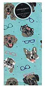 Glasses-wearing dogs kitchen towel set