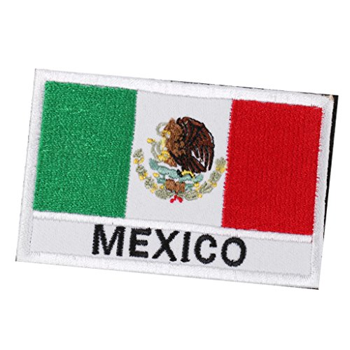 Bonarty Aufnäher Gestickt Patch Mexico Australien Flagge Fahne mit Klettverschluss - Mexikanische Flagge