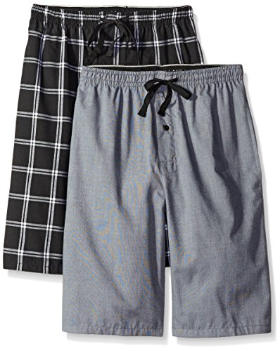 Hanes Men's 2-Pack Woven Pajama Short, Black/Grey, X-Large