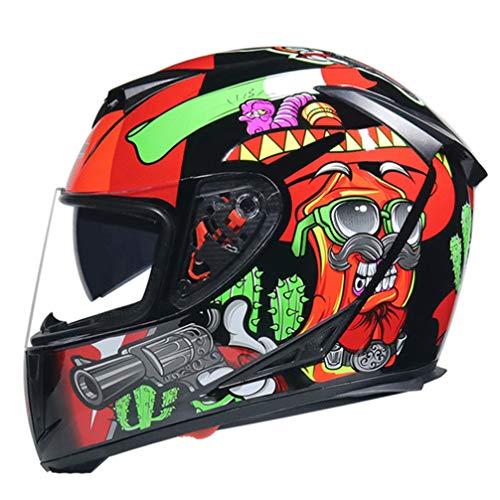 Casco de Motocicleta de Doble Lente de Seguridad para Hombre Cascos de Motocross modulares con Visera Interior para Mujer Casco de Moto de Cara Completa para Carreras Fuera de Carretera