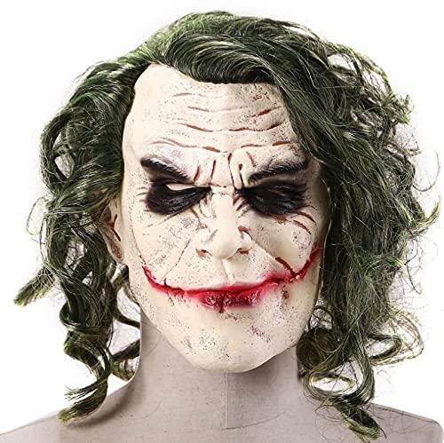 Tocado de Halloween Batman Caballero Oscuro Joker Evil Látex de Halloween Mas Heath Ledger Sombrero de látex Accesorios de película Accesorios de Cosplay Decoración