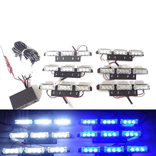 Viktion DC12V 5W 6 * 9 LEDs Feux de Pénétration Lumière Stroboscopique Eclairage Clignotant à 3 Modes pour Voiture Camion véhicule SUV (Bleu & Blanc)