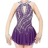 XRDSHY Vestido de Patinaje artístico Mujeres niñas Vestido de Leotardo de Traje de Baile de Manga Larga Vestido de competición de Patinaje sobre Hielo,Purple-Child 14