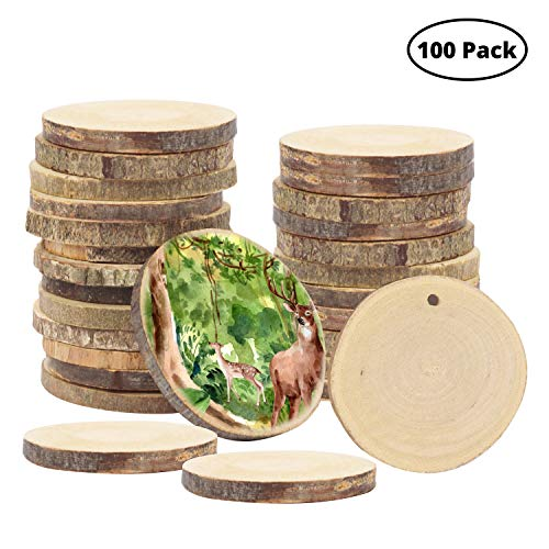 Kurtzy Holzscheiben (100 Stück) - 3-5cm Unbehandelte Natur Runde Baumscheiben mit Loch - Rustikale Log Holzkreise zum Aufhängen Handwerk Deko, Hochzeit Mittelstücke, DIY Basteln