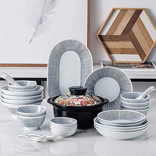 GAXQFEI Juego de vajilla de porcelana de 33 piezas, juego de platos de cerámica de estilo japonés con tazones de olla de 2 l, platos de postre, cuchara, servicio para 8, gran regalo para bodas, amigo