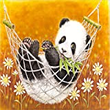 NVFDFF Pintar por Numeros Lienzo de Bricolaje Regalo de Pintura al óleo para Adultos niñosPanda Comiendo Bambú en un Columpio,Decoraciones para el hogar 40 x 50cm (Sin Marco)