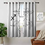 Blackout Lined Curtains Zodiac Sagittarius,Monochrome Centaur Doodle with Bow and Arrow Astrology Themed Image, Black and White,Thermal Insulated,Grommet Curtain Panel 1 Pair 42'x54'