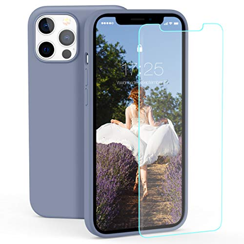 """zelaxy Silikonhülle Kompatibel mit iPhone 12 / iPhone 12 Pro (6,1"""") – Handyhülle Kratzfeste Stoßfeste Hartschale Mikrofaser-Innenausstattung – Weich Griff fest + Displayschutzfolie – Lavendel grau"""