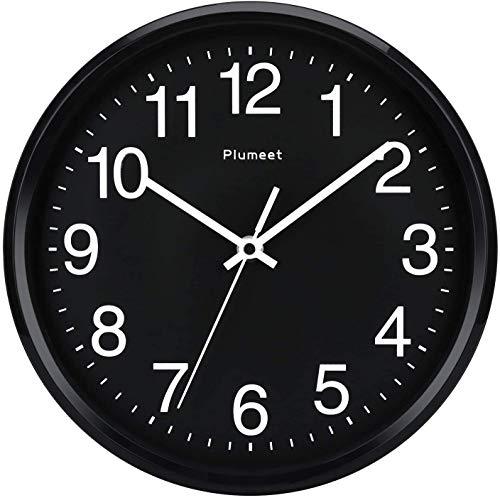"""Plumeet 10"""". Reloj de Cuarzo de Pared silencioso, Decorativo para el hogar/la Cocina/la Oficina/la Escuela, fácil Leer y con Pilas (Rostro Negro)"""