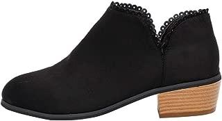 Botines tacón Ancho Altas de Cuña para Mujer Otoño Verano 2018 PAOLIAN Botines cuña Botas Militares Casual Zapatos de Punta Señora Moda Cómodos Calzado de Terciopelo Cordones Dama Talla Grande