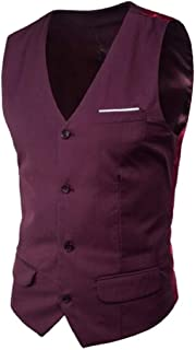 MU2M Men V-Neck 4 Business Sleeveless Plus Size Slim Button Suit Vests Waistcoat