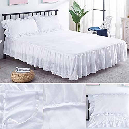 Jupe de lit Broderie de haute qualité Broderie plissée Couvre-lit Plateforme Plateforme à poussière de poussière 15 pouces Hauteur Jupe de lit Pour la maison, l'hôtel (Color : White, Size : Full)