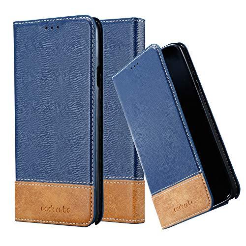 Cadorabo Hülle für Samsung Galaxy Note 3 NEO - Hülle in DUNKEL BLAU BRAUN – Handyhülle mit Standfunktion & Kartenfach aus Einer Kunstlederkombi - Hülle Cover Schutzhülle Etui Tasche Book