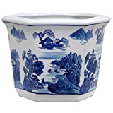 Oriental Furniture 10' Landscape Blue & White Porcelain Flower Pot