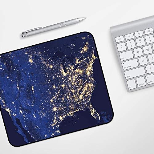 Gaming Mousepad Mauspad,Nacht, Kontinent Amerika bei Nacht vom Weltraum aus gesehen Lebendige Ansicht Planet Erde Dekorativ, Senf Mari,Komfort Mousepad - verbessert Präzision und Geschwindigkeit