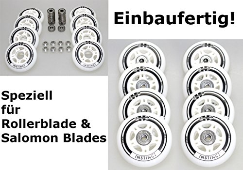 Hyper 4/8er Set Rollen Set 8mm Achse Inliner - Rolle fertig montierte Roller Blade 8mm Instinct Rolle 80mm/82a + Lager ABEC7 + Alu-Spacer 8mm