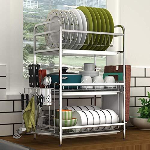 Yxsd - Escurridor de platos de acero inoxidable para el hogar, platos, filtros, escurridor, escurridor, caja de almacenamiento para cocina, 3 niveles (color plata)