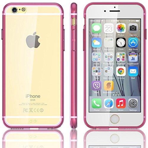 EASYPLACE - Cover case - Telaio colorato e posteriore trasparente - ROSA - IPHONE 5 -Flessibile e resistente
