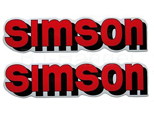 2X Aufkleber Schriftzug Simson rot S51 Tank BJ-Handel