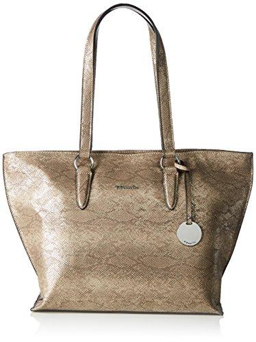 Tamaris Damen Neve Shopping Bag Schultertasche, Beige (taupe snake), 14x29x33 cm