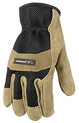 Wells Lamont Adult Wet Cement Suede Cowhide with 3D Mesh Back