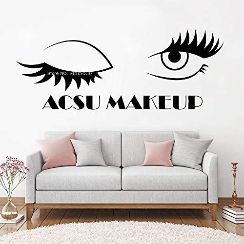 zhuziji Name Makeup Wimpern Wandaufkleber Art Studio Name Wimpern Wandaufkleber Fensteraufkleber Schönheitssalon Frau Wimpern Augenbrauen Poster L216x84cm