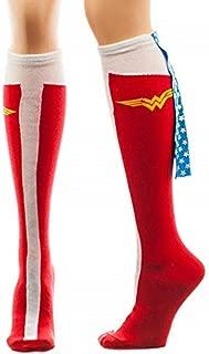 Wonder Woman Caped Boot Knee High Socks, sock size 9--11, fits shoe size 5-10