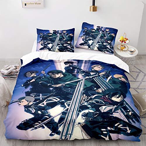 Eren Jaeger Conny Springe Mikasa Ackerman Bed Set Twin Anime Attack On Titan Bedding for Boys Kids,1 Comforter Cover+1 Pillow Sham