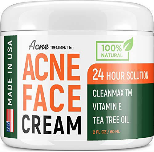 Intensive Acne Treatment - with Tea Tree Oil - Acne Spot Pimple Cream - Made in USA - Natural & Safe Cystic Acne Removal - For Normal, Dry & Oily Skin - Best Spot Treatment & Scar Removal - 2 fl.oz