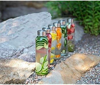 Boroux Basics Reusable Glass Water Bottles BPA/BPS Chemical Free, Premium Soda Lime Glass 18 oz, 6 Pack of Reusable D...