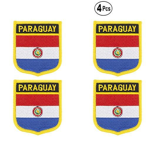 Paraguay Shiled Shape vlag patches nationale vlag patches voor Cothing DIY Decoratie