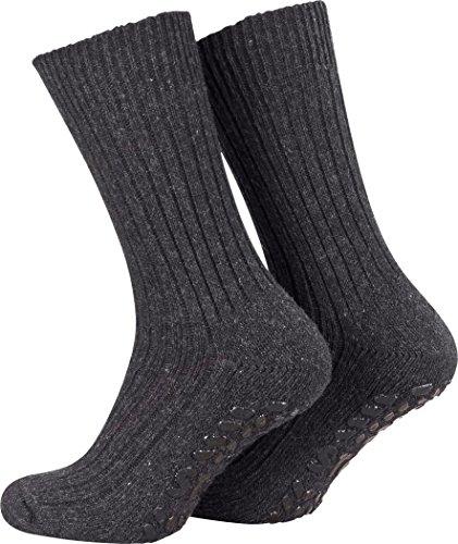 Piarini 2 Paar Stoppersocken mit Frotteesohle - ABS Socken Herren - Anti Rutschsocken mit Noppen aus Schafwolle - Wintersocken in anthrazit Gr. 43-46