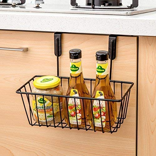 (LABEL) Hanging Spice Rack Shelf Storage Spice Bottle Basket Kitchen Pantry Caddy Brown