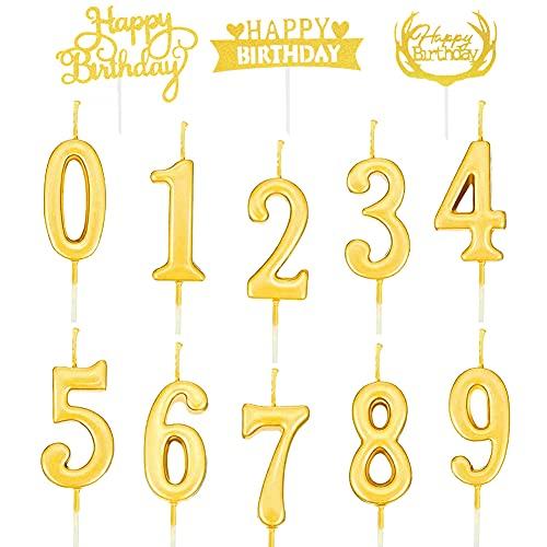 Velas,10 Piezas Números de Velas de Pastel Cumpleaños,con números de 0 a 9,Lleva 3 tarjetas de decoración para tartas,para Pastel de cumpleaños,Decoración para fiestas