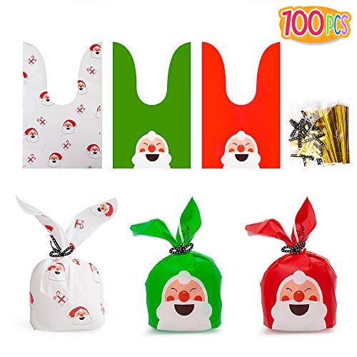 PITAYA 100 Pcs Bolsas Regalo Navidad,Bolsas de Dulces de Navidad Sin Olor de Grado Alimenticio,Navidad, Fiestas,...
