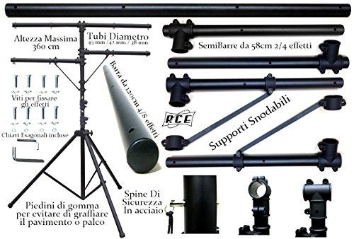 Stativo professionele lampen met 3 horizontale stangen - hoogte 360 cm voor effecten, strobo mistlampen - houder voor koplampen en reflectoren
