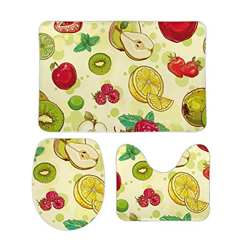 Yilooom Cute Fruit Pattern 3-Piece Set of Non Slip Bath Rugs Including Bathroom Mat Contour Mat Toilet Lid Cover Home Doormat 18 X 30 inch