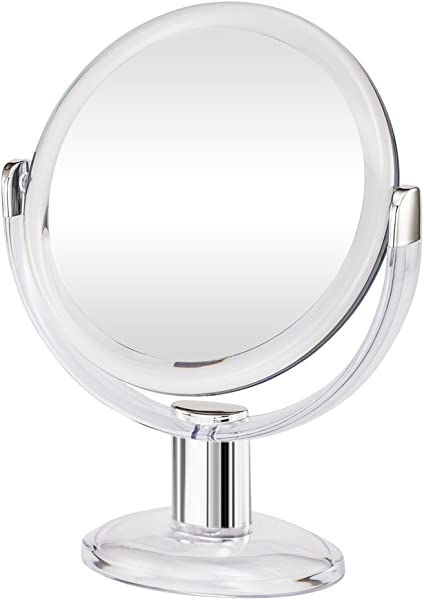 Gotofine Double Sided Magnifying Makeup Mirror 1X 10X Magnification With 360 Degree Rotation Clear Transparent