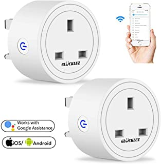 Gluckluz Smart Plug WiFi Outlet Mini UK Plugs Home Socket Remote Control by APP Timing on/off Smart Google Home Electric Mini Sockets (2 Packs)