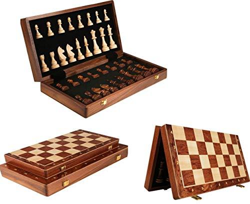 XIUWOUG Juego De ajedrez De Madera,Hechas a Mano ajedrez Plegable Magnético Junta Plegable De Calidad con Piezas De ajedrez Cómodas para Juegos De ajedrez al Aire Libre,Marrón,45 * 45 * 10.5cm