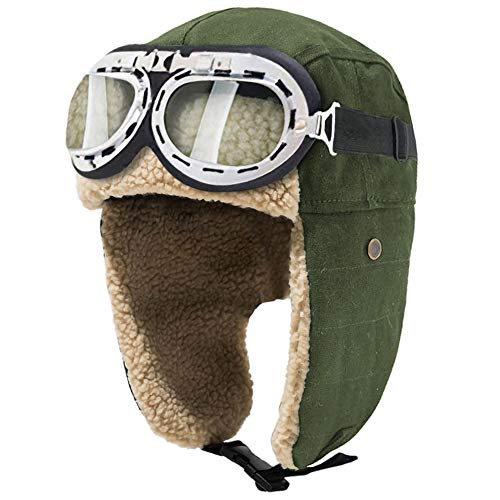 Peicees Vintage Aviator Hat and Goggles Costume Accessories Winter Snowboard Fur Ear Flaps Trooper Trapper Pilot Cap Motorcycle Goggles for Men Women Kids Youth (Green Hat+White Frame/Clear Lens)