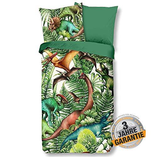 Aminata Kids Coole Wende-Bettwäsche-Set Dinosaurier-Motiv 135 x 200 cm + 80 x 80 cm Jungen, aus Baumwolle mit Reißverschluss, unsere Kinder-Bettwäsche mit Dino-Motiv, weich & kuschelig, T-Rex, grün
