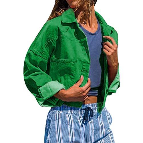 Damen Denim Kurzer Mantel,Luotuo Frauen Einfarbig Revers Langarm Coat Jeansjacke Mode Feizeit Lose Langarmshirts Bluse Tops