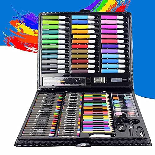 ZJJX Artist Drawing Kits, 150 unidades/set de herramientas de dibujo con caja de pintura, pinceles, rotuladores, lápices de colores para niños