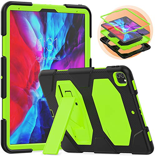 Timecity Case for iPad Pro 12.9 2020 & 2018, Rugged Multi-layer Protective Case with Built-in Foldable Stand, Durable Heavy Duty Schockproof Protective Cover for iPad Pro 12.9 Inch, Black+Green