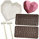 Diamond Heart Mousse Cake Mold Trays 8.7Inch Silicone Baking Pan Oven Safe Not Sticky Mould, 2 Wooden Hammers Mallet Pounding Toy, 2 Chocolate Molds for Valentine Candy Chocolate Making