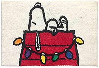 Peanuts Christmas Bath Rug, Snoopy Dog House Design 20 x 30 Inches, Stitched Back, Cotton Construction, Plush Holiday Bath...