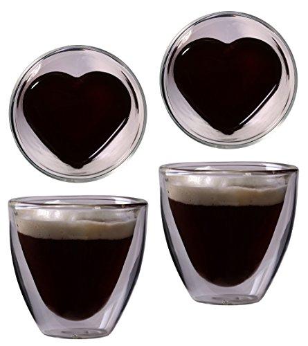 Feelino 2x 80ml Vaso de Forma de corazón Espresso y chupito, Cristal térmico, con Efecto Flotante, suspendido, Día de la Madre