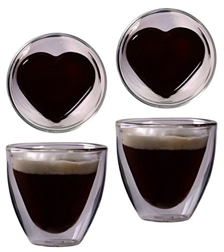 Feelino 2X 80ML A Doppia Parete A Forma di Cuore Espresso e liquore Vetro, Noble Thermo Occhiali con Effetto Ondulato, celissimo von, Festa della Mamma