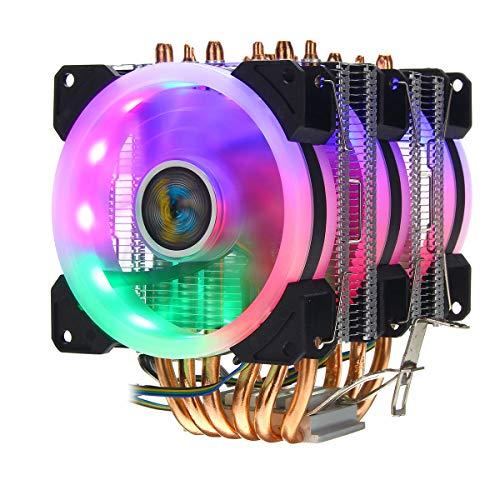YEZIB Accesorios electrónicos de Bricolaje, UPC Enfriador 6 HEATPIPE 4 Pin RGB Ventilador de refrigeración para Intel 775/1150/1151/1155/1156/1366 AMD